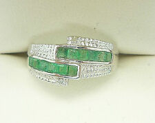 925 STERLING SILVER EMERALD DIAMOND RING GENUINE EMERALD DIAMOND SIZE N GREEN