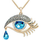 Pop Lovely Faceted crystal oval tear drop bead eye shape pendant link necklace