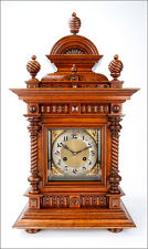 Large 25'' Antique Wooden Mantel Clock in Striking. Germany, 1900