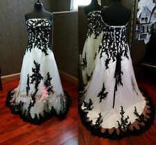 Gothic Black and White Wedding Dresses 2016 Custom Made Plus Size Bridal Gowns