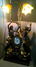 Two Nud e Naked Dancing Ladys Girls Figurine w/ Clock Accent Table Lamp