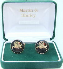 MEDIEVAL KNIGHT cufflinks made from mint coins in Black & Gold 17mm Diameter
