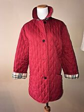 Burberry London Red Quilted Coat Jacket Nova Check Lining, S