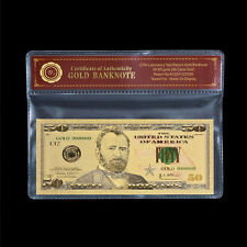 Wr Us $50 Dollars Colorful Uncirculated Gold Pvc Banknote With Plastic Sleeve