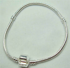 1pcs Snake Chain 19cm P Silver Plated Charm Bracelets Fit European Beads fnj