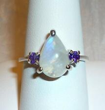 Moonstone Drop w Amethyst Ring Size 9 Solitaire in 925 Silver w gift box Unique