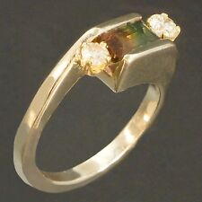 Halem Solid 14K White Gold, .88ct Bi-Color Tourmaline & Diamond Bypass Ring