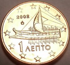 Gem Unc Greece 2002 One Euro Cent~Ancient Athenian Trireme~Free Shipping