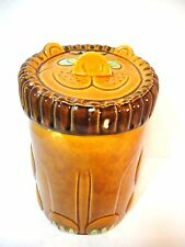 Vintage Mid-Century Lion Ceramic Cookie Jar Made in Japan Retro Decor brown.