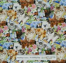 Patchwork Quilting Fabric LOTS OF CATS Material Sewing Cotton FQ 50x55cm NEW