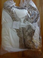 Pottery Barn COZY FUR ROBE~IVORY/CARAMEL-LARGE SIZE--NEW W/ TAGS