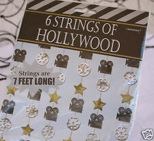 6 Strings Of Hollywood Party Decorations 42 Feet Gold Stars Movie Cameras Reels