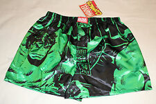 Marvel Comics The Hulk Mens Black Green Printed Satin Boxer Shorts Size S New