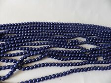 100+ pcs x Glass Pearl 8mm Round Beads: #31A BRIGHT DENIM / NAVY