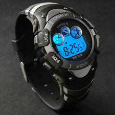 OHSEN Black Day Date Alarm Digital Quartz Womens Wrist Silicone Band Watch S70