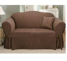Sure Fit Soft Suede Sofa Slipcover Chocolate Brown for Box Seat Cushion