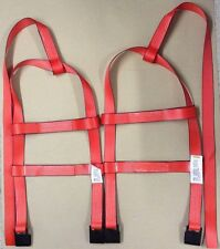 DEMCO Tiedown Straps Adjustable Tow Dolly Wheel Net Set Flat Hooks RED USA