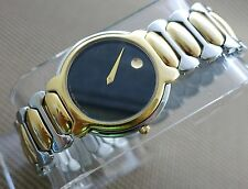 AUTHENTIC VINTAGE SWISS MOVADO 2TONE 14K GOLD.P/S.STEEL,BLACK DIAL MEN'S WATCH