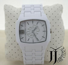 New Diesel Trojan 5 Bar White Polished Acetate Resin Band Analog Watch DZ1548