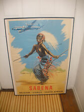 Original Rare 1950`s Belgium Airline Sabena Congo South Africa travel poster 39""
