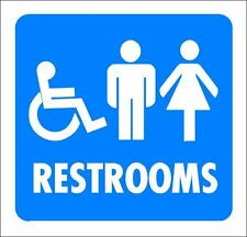 """(4""""x 4"""") ONE GLOSSY STICKER, """"WHEEL CHAIR RESTROOMS"""", FOR INDOOR OR OUTDOOR USE"""