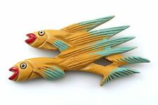 HUGE Vintage 1940s Hand Made Carved Painted Wood FLYING FISH Design Brooch PIN