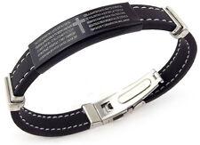 Unisex Armband Kautschuk mit Edelstahl Element & Verschluß mit Bibeltext Kreuz