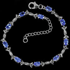 Sterling Silver 925 Genuine Natural Tanzanite & Silver Kiss Bracelet 7.25-8.5 In