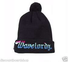 Pink Dolphin WAVE LORDZ Black Multi Pom Pom Knit Cap Hat Beanie