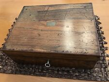 Antique Wood Writing Travel Desk Document Inkwell Box And Key
