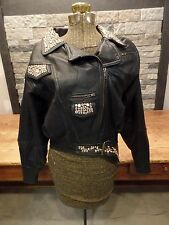 Vintage Leather Jacket 80's Bling Biker Cropped Gazebo Indianapolis Women's Sz S