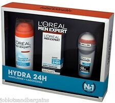 LOreal Men Expert 3PC Gift Set - Hydra 24 (Moisturiser, Shaving Gel, Roll On)