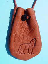 WOLF Buckskin Medicine Bag Deer Skin Leather Necklace Pendant Brown 1013