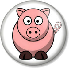 "Cute Pig 25mm 1"" Pin Button Badge Animal Lover Farmyard Face Fun Oink Bacon Pink"