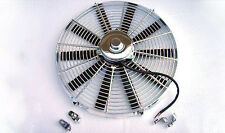 "16"" Chrome Heavy Duty 2700 CFM Radiator Straight Blade Electric Fan street rod"
