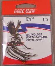 Bass Catfish Fishing Hook, 1 Pack Of 8 Eagle Claw # 1/0 Baitholder 181A-1/0