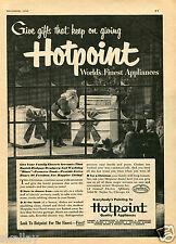 1950 Print Ad of Hotpoint Dishwasher Stove Oven Santa in Window