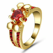 Size 8 Punk Skull Ruby Crystal Ring Men/Women's 18Kt Yellow Gold Filled Jewelry