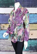 Chico's Additions 3 Purple Leopard Paisley Button Down Shirt Top Blouse XL 16