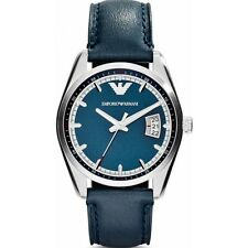 Emporio Armani AR6017 Blue Leather Silver Ladies Mens Unisex Watch RRP £149