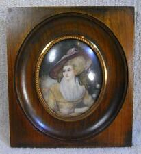 "A (6""x7"") With Centre Oval Lovely Grained Wood Antique Miniature Picture Frame"