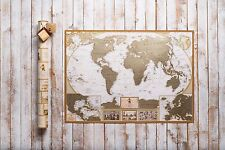 Large World Scratch Map, Personal gift travel map, push pin map for traveler