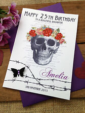 "Large Handmade Personalised ""Goth"" Birthday Card - Sister Daughter Friend"