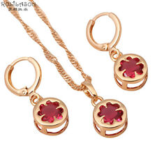 JS250 Wedding 18K Gold Plated Ruby Zircon Jewelry Sets Earrings Necklaces