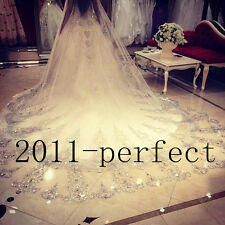 Luxury Crystal Cathedral Bridal Veils Applique Bling Beaded Custom Wedding Veil