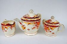 Vintage Porcelain Tea Set ~ Red Floral w/Gold Flecks, Pot, Pitcher, Sugar Bowl