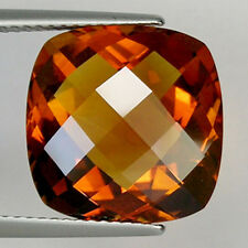 9.50ct GENUINE MADEIRA CHECKER CUT URUGUAY DEEP NATURAL ORANGE CITRINE # 668