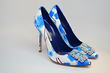 New Manolo Blahnik Hangisi Blue Floral Print Crystal Pumps 105mm Size 38.5