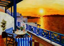 "Modern Art - Sunset From A Terrace In Greece 12X16 "" Oil Painting"
