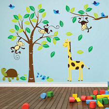 Monkey Tree Birds Animal Nursery Jungle Children Art Wall Stickers Decals 322
